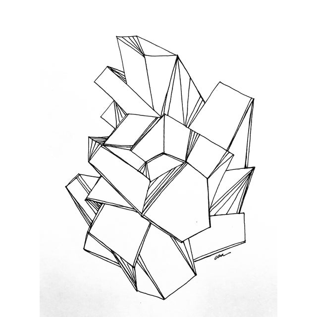 This original pen & ink drawing by textile designer and artist, Christy Almond, was inspired by natural crystal...