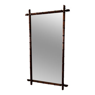 Bamboo Wood Frame Vintage Mirror For Sale