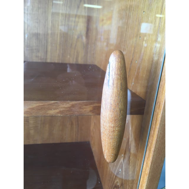 Felt 1950s Mid Century Modern Solid Teak Sideboard and Floating Hutch With Accordion Doors For Sale - Image 7 of 12