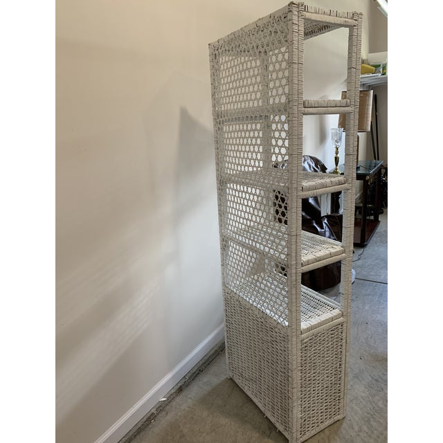 Vintage Tall Rustic White Wicker Rattan Cabinet Shelf With Bottom Dual Magnetic Stay Shut Doors For Sale - Image 4 of 8