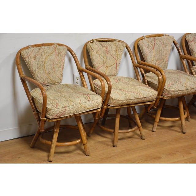Bamboo Swivel Dining Chairs - Set of 4 - Image 4 of 11