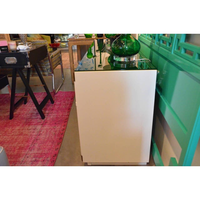 Drexel Lacquered White with Emerald Lucite-Top Campaign Dresser - Image 4 of 9