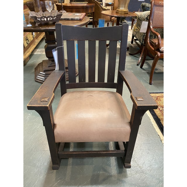Original Gustav Stickley Rocking Chair With Leather Seat For Sale - Image 10 of 10