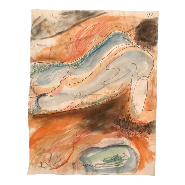 1980s Male Nude Mixed Media Painting by James Bone For Sale