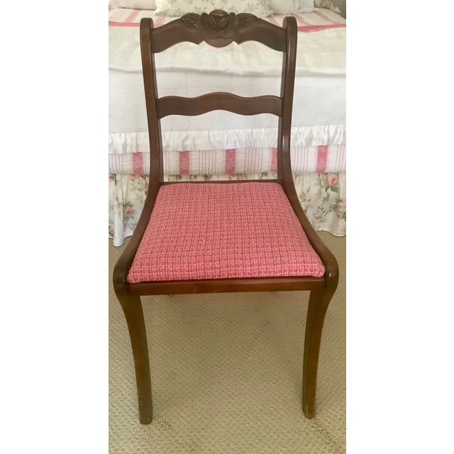 Antique Hand Carved Rosette Floral Back Mahogany Chair For Sale - Image 6 of 6