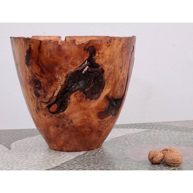 One of a kind large turned wood bowl by German craftsmen Eckart Mohlenbeck in apple root wood with.