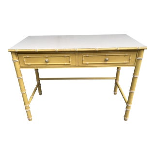 1970s Hollywood Regency Thomasville Faux Bamboo Desk For Sale