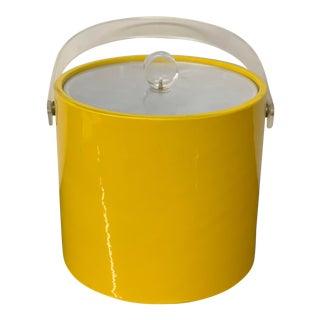 Mid-Century Yellow Vinyl Ice Bucket For Sale