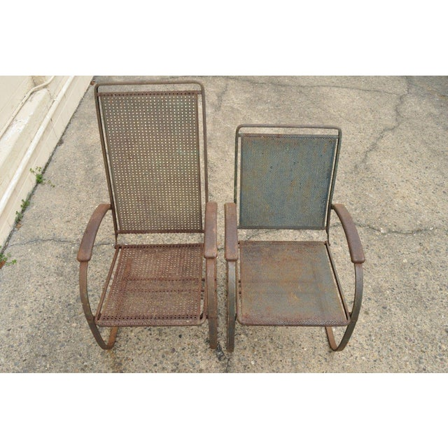 Vintage Steel Metal Mesh His and Hers Patio Bouncer Lounge Chairs - a Pair For Sale - Image 10 of 12