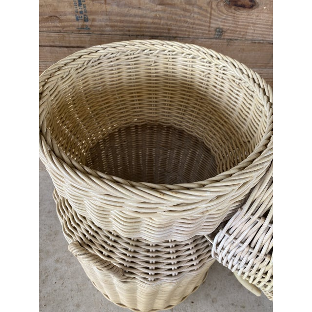 Adorable and multi functional vintage large wicker braid elephant basket in as found vintage condition. Please zoom in on...