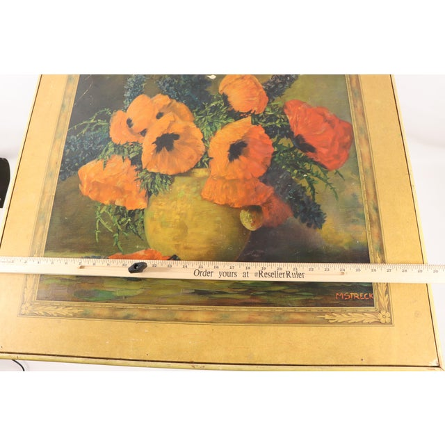 1950s Vintage Bridge Tables & Novelties M Streckenbach Poppy Flowers Table Stand For Sale - Image 10 of 12