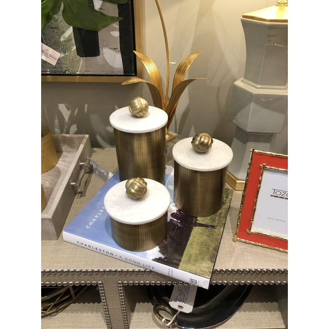 Gold Brass Canisters With Marble Lids - Set of 3 For Sale - Image 8 of 9