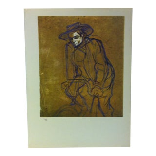 """Circa 1980 """"Aristide Bruant on a Bicycle Around 1893"""" Color Print of a Toulouse-Lautrec Drawing For Sale"""