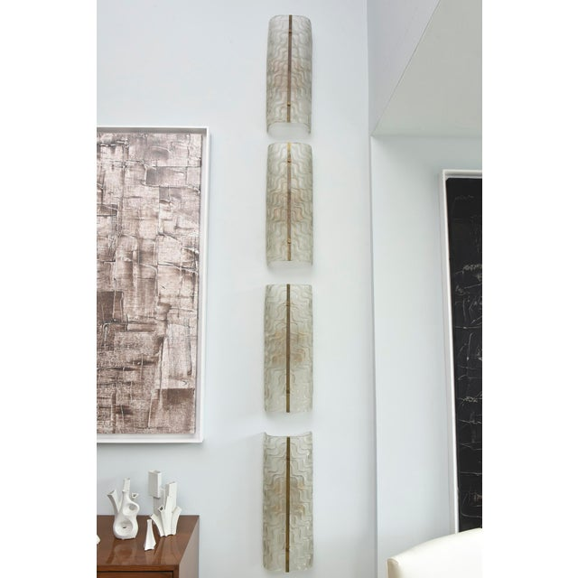Glass Set of Four Italian Glass and Bronze Wall Lights, Barovier and Toso For Sale - Image 7 of 11
