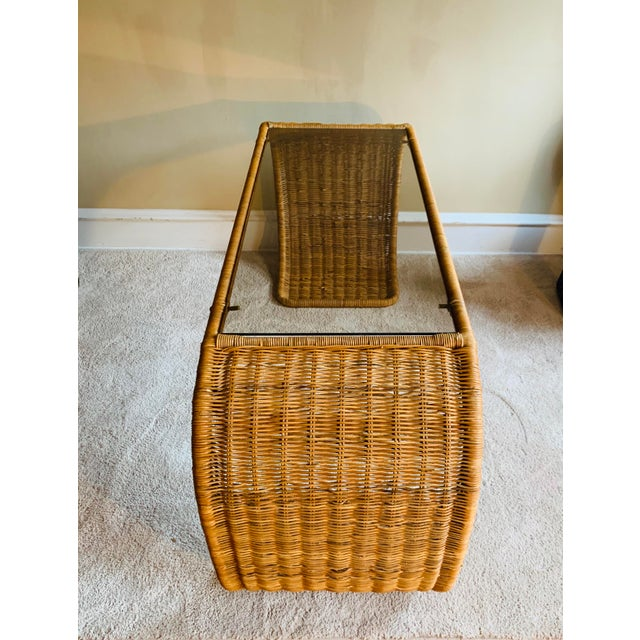 Wicker Vintage Rattan Scroll Console Table For Sale - Image 7 of 10