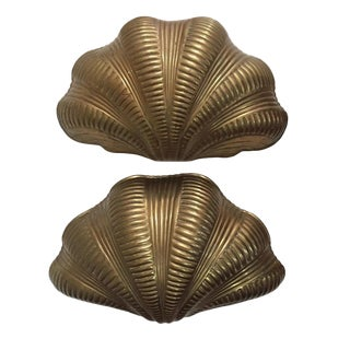 1970s Brass Clam Shell Wall Sconces Large Scalloped Chapman - a Pair For Sale