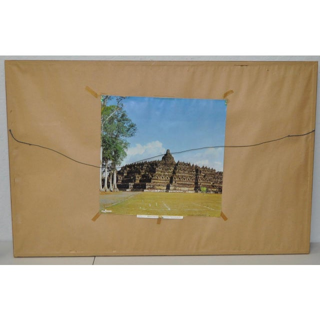Gray Mid-Century Javanese Temple Oil Painting by Frederik Kasenda C.1950s For Sale - Image 8 of 9