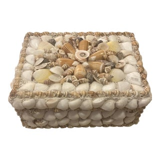 Vintage Sea Shell Jewelry Trinket Box Nautical Decor Treasure Chest For Sale