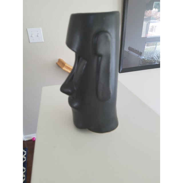 African Mid-Century Modern Matte Black Face Vase For Sale - Image 3 of 6