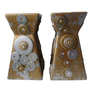 Retro Geometric Chunky Pillar Candle Holders- a Pair For Sale