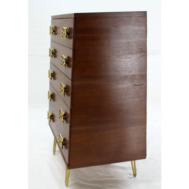 Mid Century Modern Pyramid Shape High Chest with Large Bow or Butterfly Pulls For Sale - Image 10 of 10