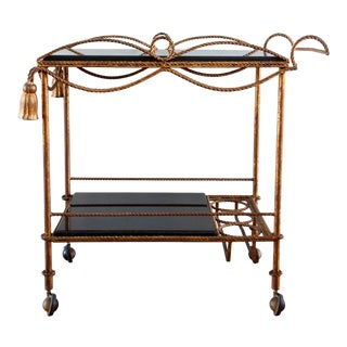 Gilt Rope and Tassel Bar Cart For Sale