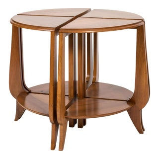 Art Deco Round Walnut Coffee Table - Four Nesting Tables For Sale
