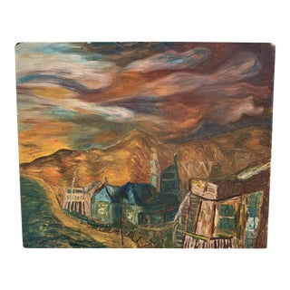 Vintage Mid-Century Crystal Cove Cottages Original Oil on Plaster Painting For Sale