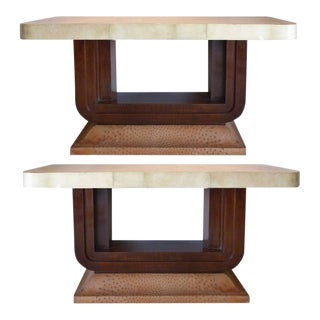 Art Deco Goatskin and Ostrich Skin Clad Console Tables, Pair For Sale