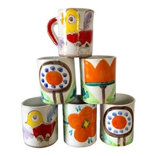 Mid Century Giovanni DeSimone Italian Pottery Mugs- Set of 6 For Sale