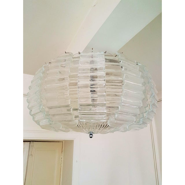 Chrome Pair of Large Clear Murano Glass Chandeliers by Barovier & Toso, 1970s For Sale - Image 7 of 9