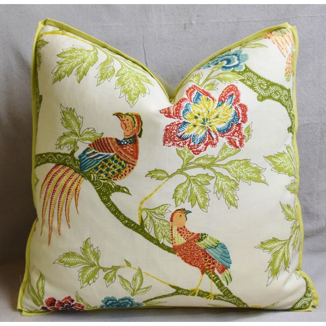 """Early 21st Century Schumacher Chinoiserie Linen & Mohair Bird Feather/Down Pillow 21"""" Square For Sale - Image 5 of 6"""
