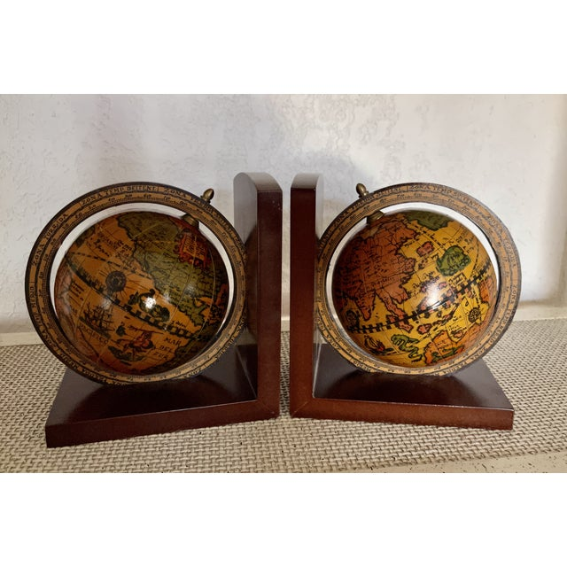 Vintage Old World Rotating Globe Bookends-a Pair For Sale In Palm Springs - Image 6 of 6