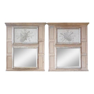 French 19th Century Painted Pine Trumeau Mirrors - a Pair For Sale