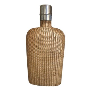 English Summer Rattan Covered Flask with a Brass Top, 19th Century For Sale