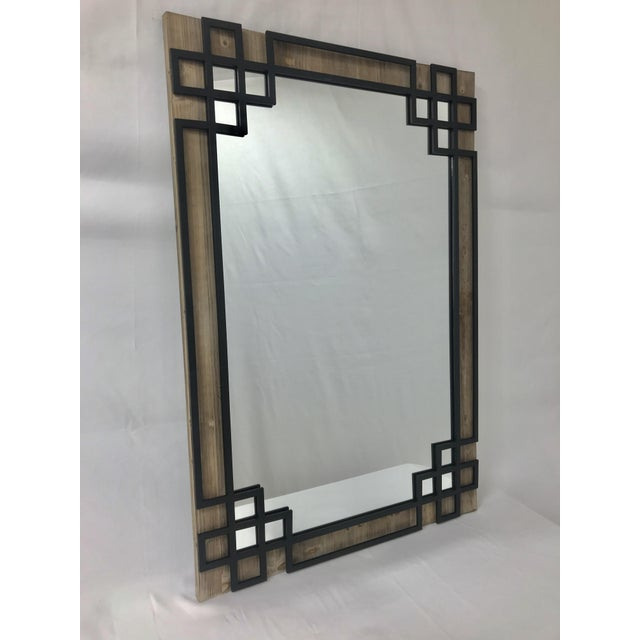- SOLID WOOD FRAME HAND DISTRESSED – with black iron overlay for an industrial style. Also available as a leaner mirror -...