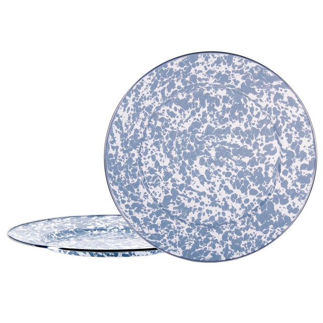 Modern Charger Plates Grey Swirl - Set of 2 For Sale - Image 3 of 3