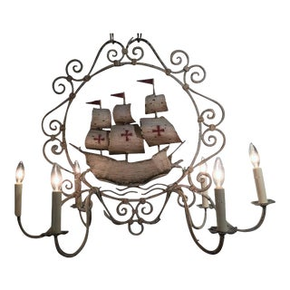 Mid-20th Century French Painted Iron Six-Light Sailboat Chandelier For Sale
