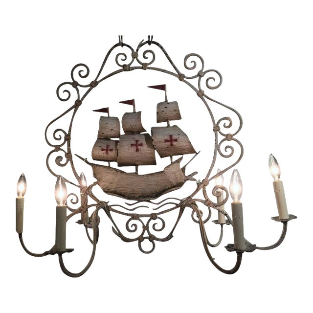Mid-20th Century French Painted Iron Six-Light Sailboat Chandelier - Image 1 of 9