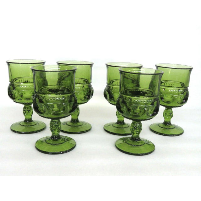 Indiana Glass Kings Crown Thumbprint Green Set of 6 Wine Cordial Goblets For Sale - Image 10 of 11
