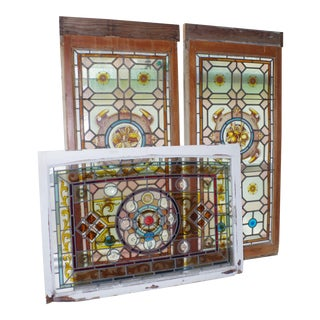 19th Century English Stained Glass Windows - Set of 3 For Sale