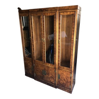 Transitional Campaign Style Display Cabinet For Sale