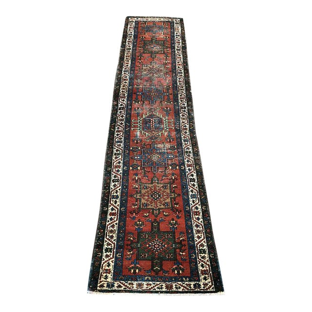 "Vintage Karajeh Wool Runner Rug - 2'10""x11'2"" For Sale"