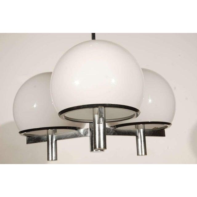 Mid-Century Modern 1960s Vintage Chrome & White Lightolier Ceiling Fixture For Sale - Image 3 of 9