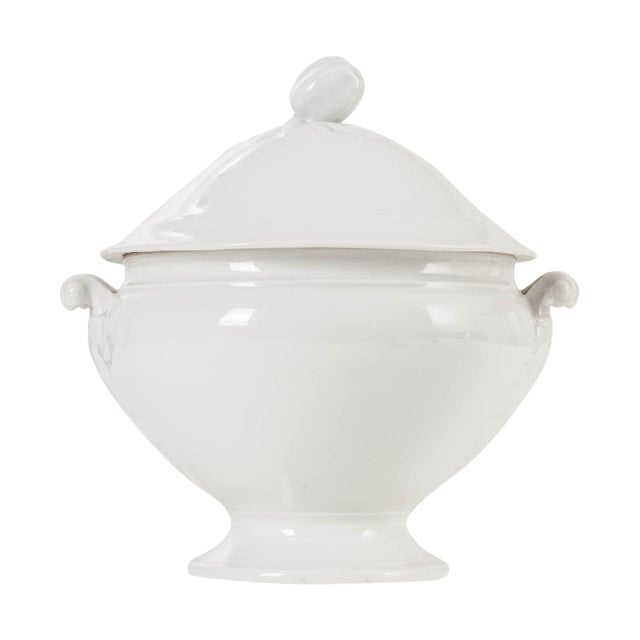 French White-Glazed Ironstone Soup Tureen For Sale