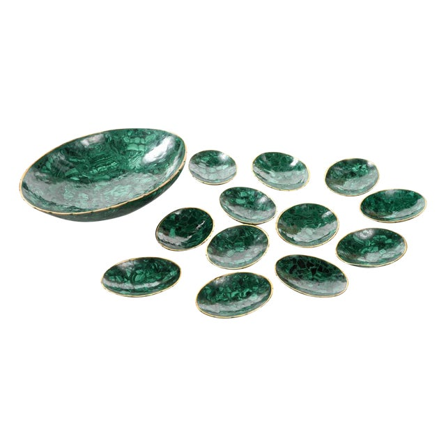 Natural Malachite & Bronze Nut Bowls - Set of 13 For Sale