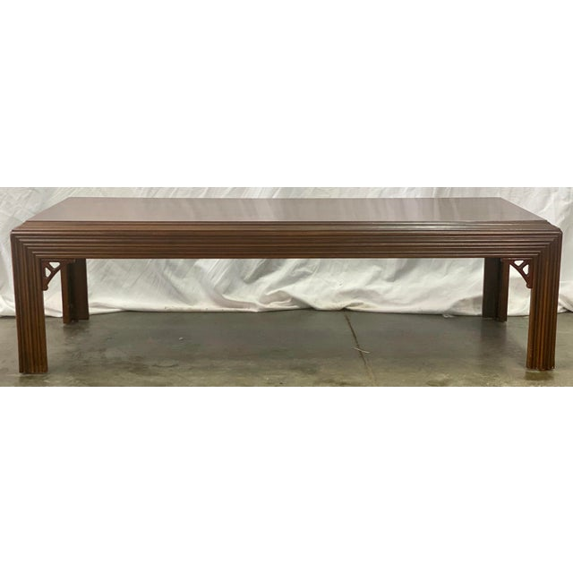 Vintage mahogany Chippendale style coffee table by Lane Furniture featuring sturdy construction, Chinoiserie carved...