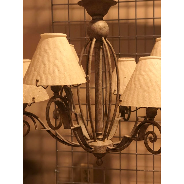 Rustic Vintage Transitional Patinated 6 Arm Chandelier With Shades For Sale - Image 3 of 6