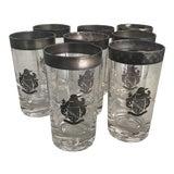 Image of Vintage Cocktail Glasses Silver Crest Set of 8 For Sale