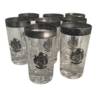 Vintage Cocktail Glasses Silver Crest Set of 8 For Sale
